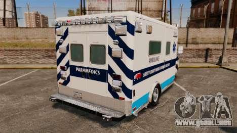 Ford E-350 Liberty Ambulance [ELS] para GTA 4 Vista posterior izquierda