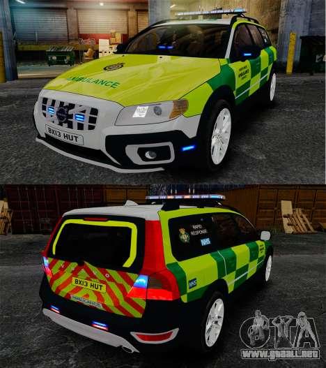 Volvo XC70 Paramedic [ELS] para GTA 4 vista interior