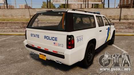 GTA V Declasse Police Ranger LCPD [ELS] para GTA 4 Vista posterior izquierda
