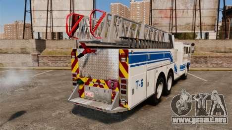 MTL Firetruck MDH1000 Midmount Ladder [ELS] para GTA 4 Vista posterior izquierda