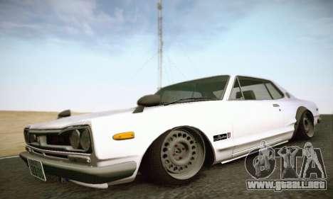 Nissan Skyline 2000GTR 1967 Hellaflush para GTA San Andreas vista posterior izquierda