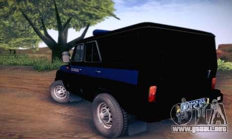 Policía UAZ Hunter para la visión correcta GTA San Andreas