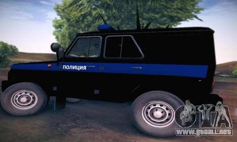 Policía UAZ Hunter para GTA San Andreas vista posterior izquierda