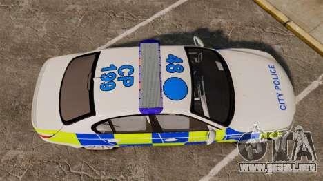 BMW M5 E60 City Of London Police [ELS] para GTA 4 visión correcta