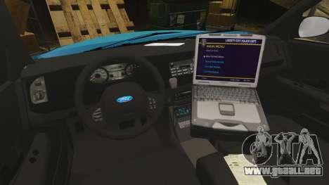 Ford Crown Victoria NYPD [ELS] para GTA 4 vista hacia atrás