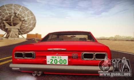 Nissan Skyline 2000GTR 1967 Hellaflush para la vista superior GTA San Andreas