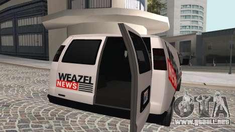Newsvan Rumpo GTA 5 para GTA San Andreas vista posterior izquierda