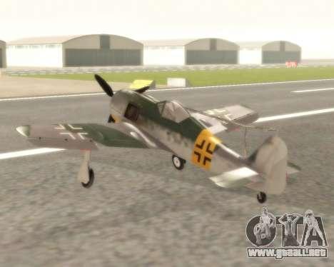 Focke-Wulf FW-190 F-8 para GTA San Andreas vista posterior izquierda