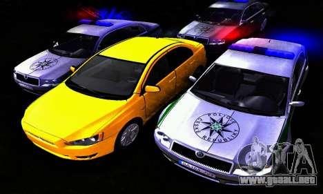 Skoda Superb POLICIE para GTA San Andreas vista hacia atrás