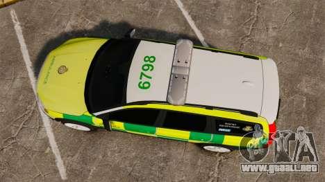 Volvo XC70 Paramedic [ELS] para GTA 4 visión correcta
