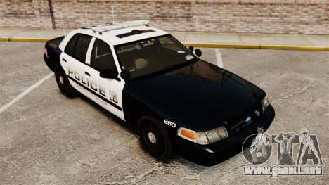 Ford Crown Victoria 2008 LCPD Patrol [ELS] para GTA 4 vista interior