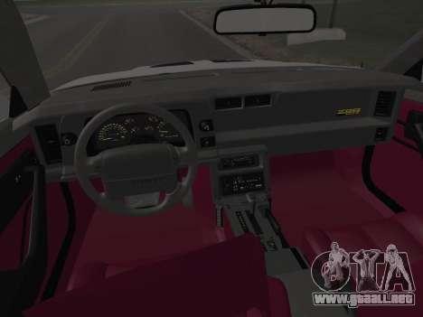 Chevrolet Camaro IROC-Z 1990 para las ruedas de GTA San Andreas