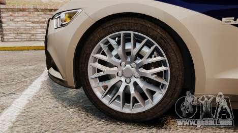 Ford Mustang GT 2015 Cheng Guan Police para GTA 4 vista hacia atrás