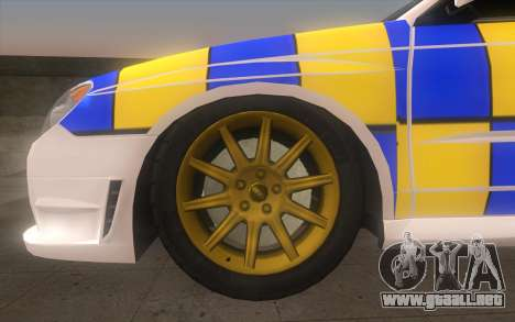 Subaru Impreza 2006 WRX STi Police Malaysian para GTA San Andreas vista posterior izquierda