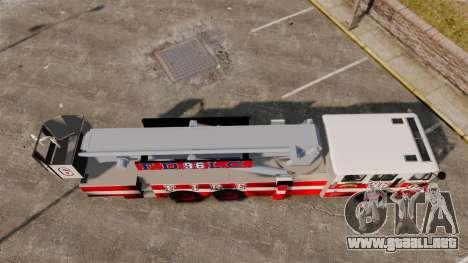 MTL Firetruck Tower Ladder FDLC [ELS-EPM] para GTA 4 visión correcta