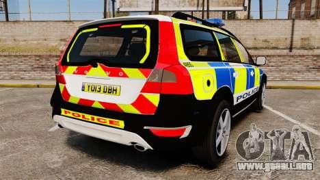 Volvo XC70 2014 Police [ELS] para GTA 4 Vista posterior izquierda