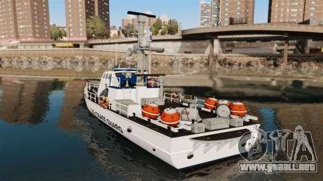 Канонерская barco U.S. Coastguard para GTA 4 Vista posterior izquierda