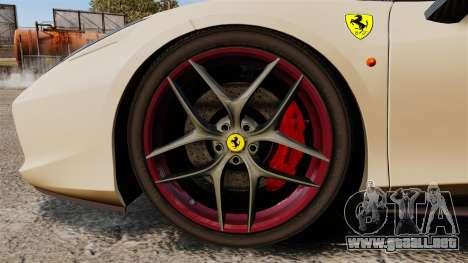 Ferrari 458 Italia 2011 para GTA 4 vista hacia atrás