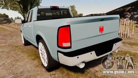 Dodge Ram 3500 Heavy Duty para GTA 4 Vista posterior izquierda