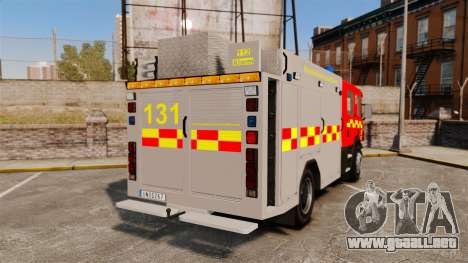 Scania 94D 260 BAS1 Stockholm Fire Brigade [ELS] para GTA 4 Vista posterior izquierda