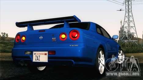 Nissan Skyline GT-R R34 V-Spec para GTA San Andreas left