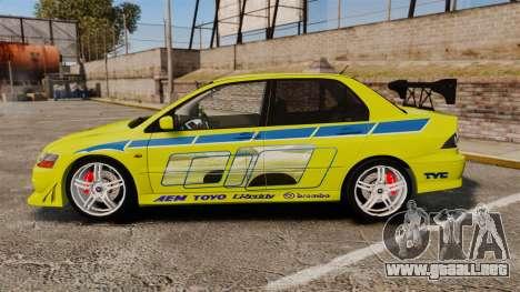 Mitsubishi Lancer Evolution VII 2002 para GTA 4 left