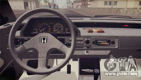 Honda Civic Si 1986 HQLM para vista lateral GTA San Andreas