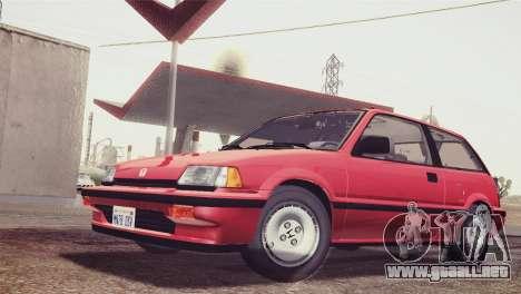 Honda Civic Si 1986 HQLM para GTA San Andreas vista posterior izquierda