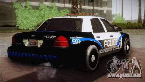 Ford Crown Victoria Police Interceptor 2009 para GTA San Andreas vista posterior izquierda