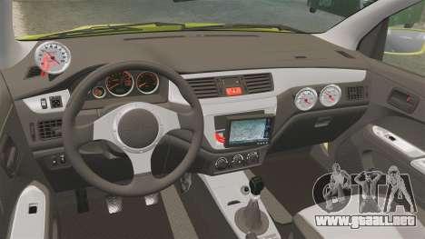 Mitsubishi Lancer Evolution VII 2002 para GTA 4 vista interior