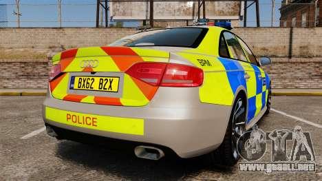 Audi S4 2013 Metropolitan Police [ELS] para GTA 4 Vista posterior izquierda