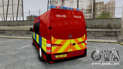 Mercedes-Benz Sprinter 313 CDI Police [ELS] para GTA 4 Vista posterior izquierda