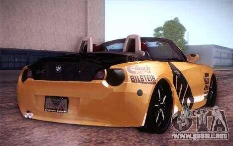 BMW Z4 V10 Stanced para GTA San Andreas vista posterior izquierda