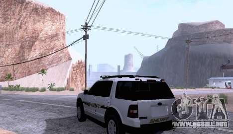 Ford Explorer Sheriff 2010 para GTA San Andreas vista posterior izquierda