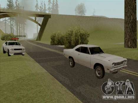 Plymouth Road Runner 383 1969 para las ruedas de GTA San Andreas