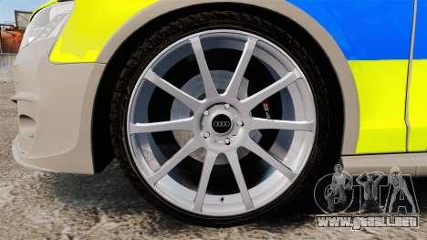 Audi S4 2013 Metropolitan Police [ELS] para GTA 4 vista hacia atrás