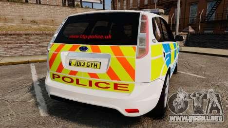 Ford Focus Estate British Police [ELS] para GTA 4 Vista posterior izquierda