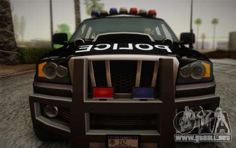 NFS Suv Rhino Heavy - Police car 2004 para GTA San Andreas vista hacia atrás