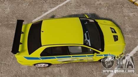 Mitsubishi Lancer Evolution VII 2002 para GTA 4 visión correcta
