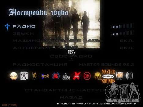 Menú De La Carrera De La Muerte para GTA San Andreas tercera pantalla