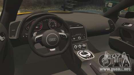 Audi R8 V10 plus Coupe 2014 [EPM] [Update] para GTA 4 vista lateral