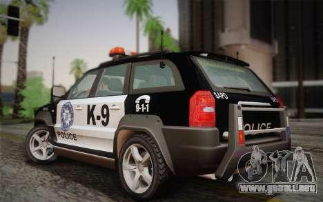 NFS Suv Rhino Heavy - Police car 2004 para GTA San Andreas vista posterior izquierda