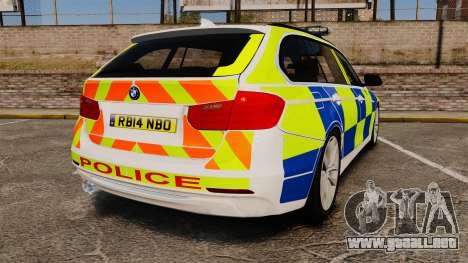 BMW 330d Touring (F31) 2014 Police [ELS] para GTA 4 Vista posterior izquierda