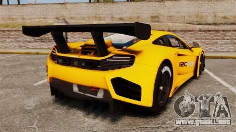 McLaren MP4-12C GT3 para GTA 4 Vista posterior izquierda