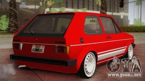 Volkswagen Golf MK1 Red Vintage para GTA San Andreas vista posterior izquierda