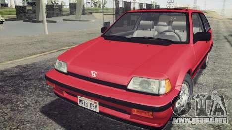 Honda Civic Si 1986 HQLM para la visión correcta GTA San Andreas