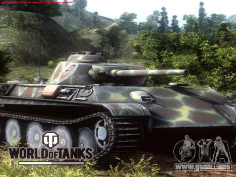 La pantalla de inicio de World of Tanks para GTA San Andreas sucesivamente de pantalla