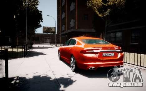 Jaguar XF-R 2012 v1.1 para GTA 4 Vista posterior izquierda