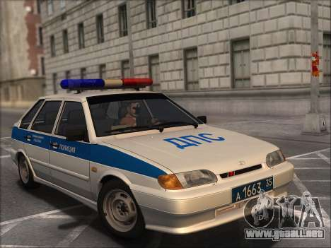 VAZ 2114 Policía DPS para GTA San Andreas vista hacia atrás