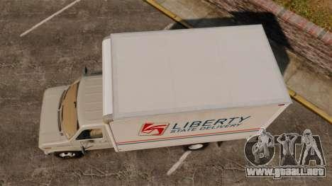Ford E-350 1988 cube truck para GTA 4 visión correcta